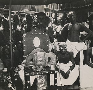 Golden Stool - The Ashanti and Ashanti Region-Kingdom of Ashanti Golden Stool on a throne (1935)