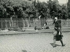 Collectivization in the Ukrainian Soviet Socialist Republic - Starved peasants on a street in Kharkiv, 1933