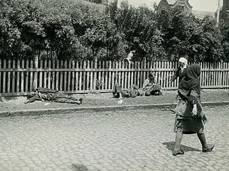 Soviet famine of 1932–33 - Starved peasants on a street in Kharkiv, 1933