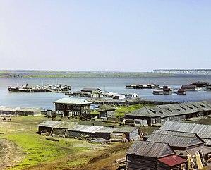 Irtysh River - The Tobolsk river wharves in 1912