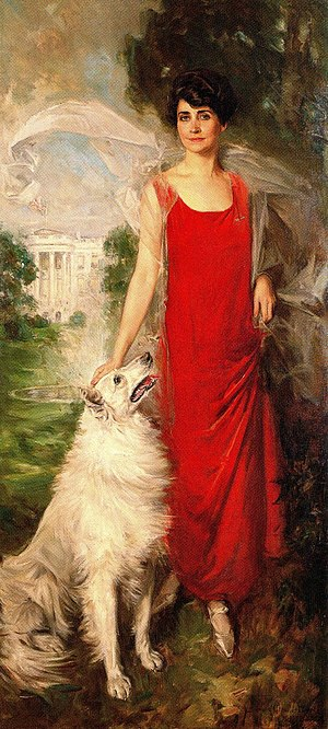 Grace Coolidge - The official White House portrait of First Lady Grace Coolidge with her dog Rob Roy