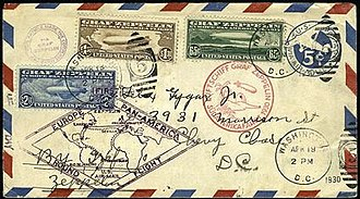 1930 Graf Zeppelin stamps - Flown first day cover, April 19, 1930