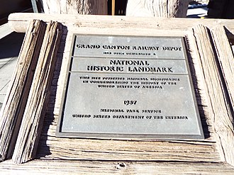 Grand Canyon Village, Arizona - Canyon Railroad Depot National Historic Landmark Marker