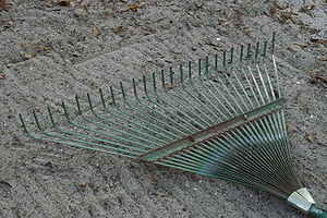 "Rake (tool) - A light-duty ""leaf rake"" for leaves and grass"