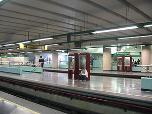Spanish solution - Platforms of the station Chabacano in Line 8, Mexico City.