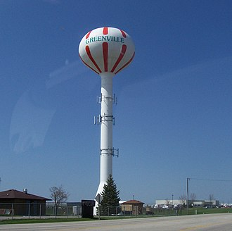 Greenville, Wisconsin - Image: Greenville Wisconsin Water Tower