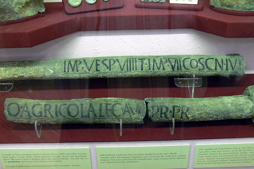 Ancient pipes in a museum case