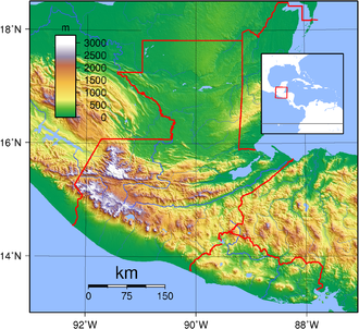 Relief map of Guatemala showing the three broad geographical areas: the southern Pacific lowlands, the highlands and the northern Peten lowlands Guatemala Topography.png