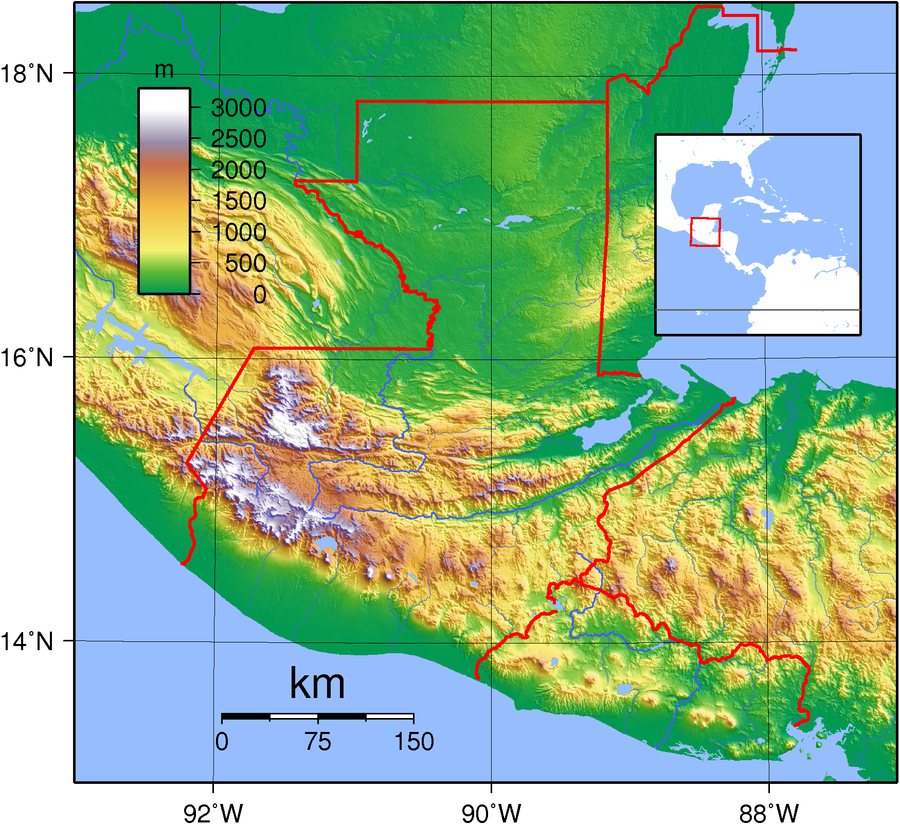 Guatemala's topography. Guatemala Topography.png
