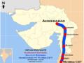 Gujarat Express and Karnavati Express (Mumbai CST - Ahmadabad) Route map.png