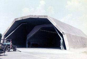 Hardened aircraft shelter - Hardened aircraft shelter at RAF Bruggen, 1981