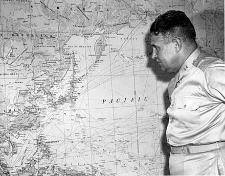Leslie Groves, Manhattan Project director, with a map of Japan HD.30.507 (10444069294).jpg