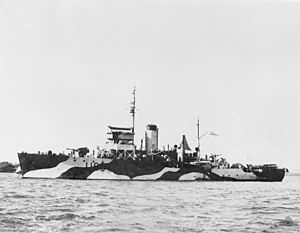 HMAS Maryborough in Cochin, India in December 1942. Her camouflage scheme at this period was considered unusual