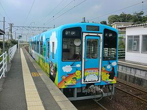 Kumamon - Exterior of a Kumamon-themed Hisatsu Orange Railway train, November 2012