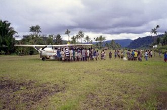 Transport in Papua New Guinea - Rural airstrip at Haia, Eastern Highlands Province