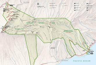 Haleakalā National Park - Detail map of Haleakalā National Park