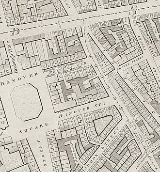 """Hanover Square Rooms - Detail of Hanover Square from Richard Horwood's 1795 map of London. The Hanover Square Rooms are marked as """"concert rooms"""" next to No.4 Hanover Square (click 3x for detail)."""