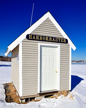 Harbourmaster - Harbourmaster's shanty, Hingham harbour, Hingham, Massachusetts.