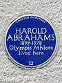 Harold Abrahams 1899-1978 Olympic athlete lived here.jpg