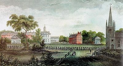 Harvard College, historically one of several favored undergraduate schools for the Protestant elite. Seen here is the 1836 Harvard alumni procession. HarvardElizaSusanQuincy1836.jpg