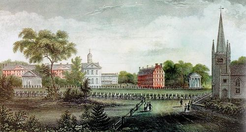 Harvard College, a favorite choice of American upper classes. Having a college degree is common among mainline Protestant denominations, especially Episcopalians and Presbyterians. HarvardElizaSusanQuincy1836.jpg