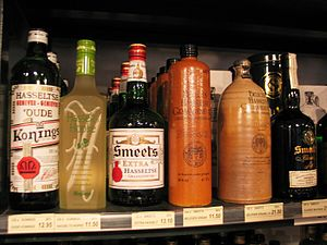Jenever - Bottles of jenever for sale in Hasselt, including two in traditional clay bottles