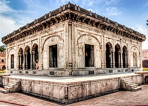 Hazuri Bagh Baradari - The baradari is in the centre of the Hazuri Bagh quadrangle, and is directly west of the Lahore Fort's Alamgiri Gate