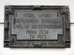 Photo of Benjamin Disraeli black plaque