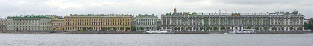 קומפלקס הארמיטאז', משמאל לימין: תיאטרון הארמיטאז', הארמיטאז' הישן, הארמיטאז' הקטן, ארמון החורף