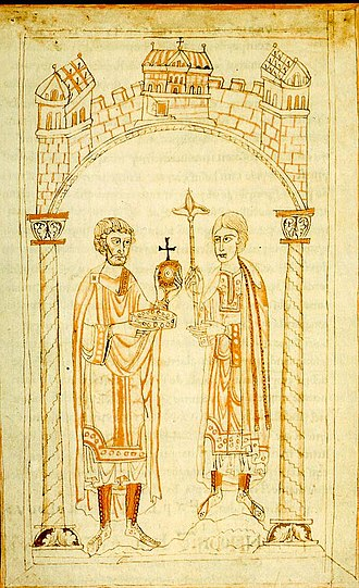 Henry IV, Holy Roman Emperor - The abdication of Henry IV in favour of Henry V, from the Chronicle of Ekkehard von Aura