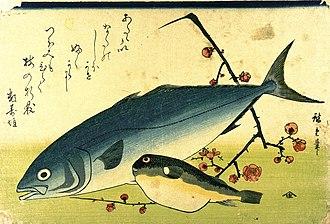Fugu - Fugu (right) and Japanese amberjack by Hiroshige (1832)