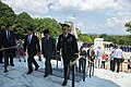His Excellency Tarō Kōno, Foreign Minister of Japan, and His Excellency Itsunori Onodera, Japanese Minister of Defense Participate in an Armed Forces Full Honors Wreath-Laying Ceremony at Arlington National Cemetery (36478139921).jpg