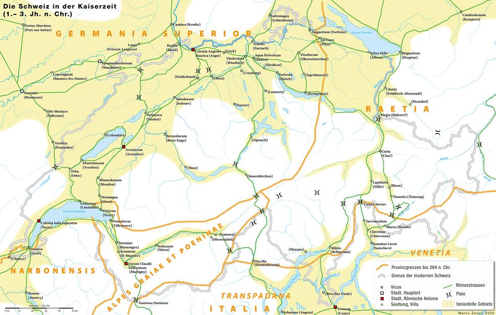 Historische Karte CH Rom 1