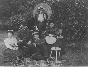 W. M. Hodgkins - W. M. Hodgkins with some of his family in 1892: daughters Frances (left) and Isabel (holding Japanese sunshade), his wife Rachael, and his future son-in-law William Field