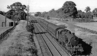 Holmes Chapel railway station - Up local train approaching Holmes Chapel station in 1951