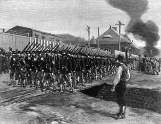 Pennsylvania Army National Guard - The Eighteenth Regiment arrives in Homestead during the Homestead Strike of 1892
