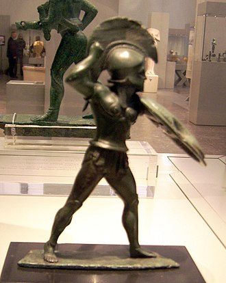 Statuette of hoplite (Berlin Antiquities Collection Misc. 7470) - Image: Hoplite from Dodona Antikensammlung Berlin Misc. 7470 (9)