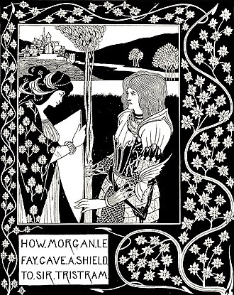 Morgan le Fay - How Morgan le Fay Gave a Shield to Sir Tristram, Aubrey Beardsley's illustration for Le Morte d'Arthur (1870)