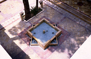 Howz - A small howz in a mosque in Tehran shaped in the traditional form of two squares, one rotated 45 degrees.