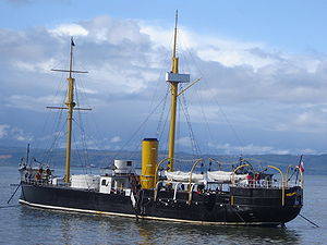 Monitor (warship) - Huáscar anchored in the harbour at Talcahuano
