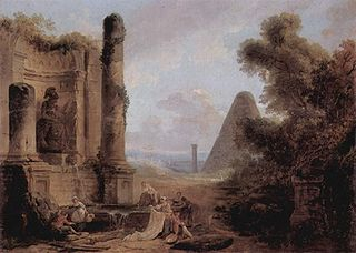 Fantastique Landscape with the Pyramid of Cestius and a Ruined Temple