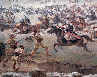 Hungarian invasions of Europe - Hungarian warriors (oil on canvas)