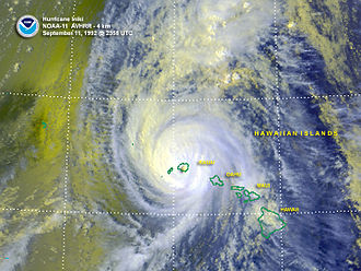 Central Pacific Hurricane Center - On September 11, 1992, Hurricane Iniki caused more than US$3 billion of damage in Hawai'i.