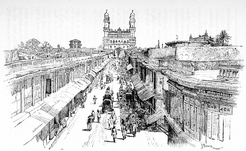 Hyderabad street with Charminar India 1890