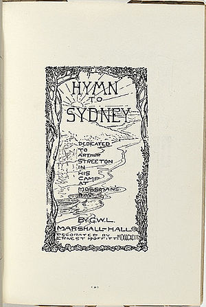 "Ernest Moffitt - Frontispiece by Moffitt of Marshall Hall's ""Hymn to Sydney"", dedicated to Arthur Streeton and the Artists' Camps"