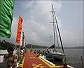 "INSV Tarini preparing to set sail with the first ever Indian all women crew around the globe under the banner of ""Navika Sagar Parikrama"".jpg"