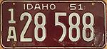 Idaho 1951 license plate.JPG