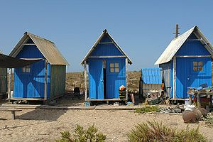Shelter (building) - Fishermen's shelter houses on Barreta Island, Portugal.