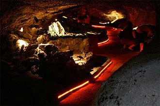 Lava Beds National Monument - An illuminated lava tube