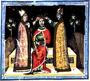 Nicholas, Archbishop of Esztergom - Nicholas crowns Emeric, depicted in the Illuminated Chronicle